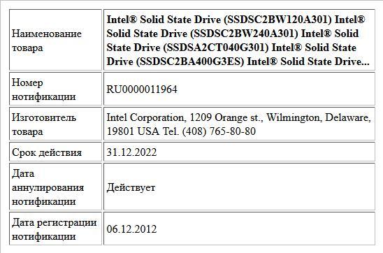 Intel® Solid State Drive (SSDSC2BW120A301)  Intel® Solid State Drive (SSDSC2BW240A301)  Intel® Solid State Drive (SSDSA2CT040G301)  Intel® Solid State Drive (SSDSC2BA400G3ES)  Intel® Solid State Drive...