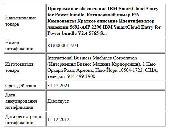Программное обеспечение IBM SmartCloud Entry for Power bundle.  Каталожный номер P/N Компоненты Краткое описание Идентификатор лицензии  5692-A6P 2296 IBM SmartCloud Entry for Power bundle V2.4 5765-S...