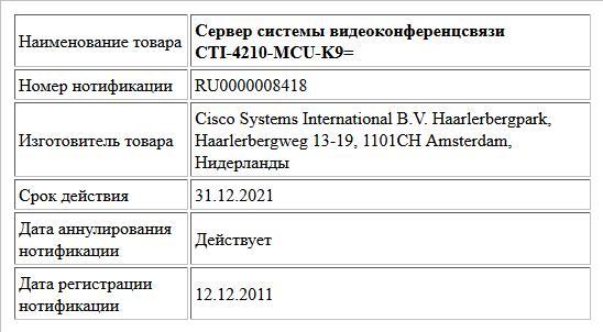 Сервер системы видеоконференцсвязи  CTI-4210-MCU-K9=