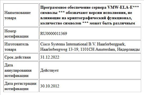 Программное обеспечение сервера   VMW-ELA-E***  символы *** обозначают версии исполнения, не влияющие на криптографический функционал, количество символов *** может быть различным