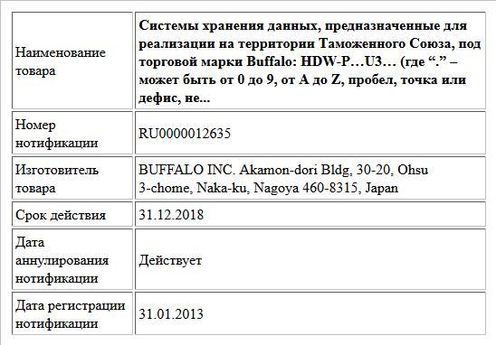 """Системы хранения данных, предназначенные для реализации на территории Таможенного Союза, под торговой марки Buffalo:  HDW-P…U3…  (где """"."""" – может быть от 0 до 9, от A до Z, пробел, точка или дефис, не..."""