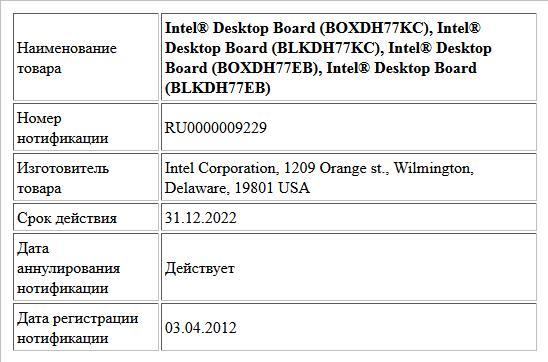 Intel® Desktop Board (BOXDH77KC),  Intel® Desktop Board (BLKDH77KC),  Intel® Desktop Board (BOXDH77EB),  Intel® Desktop Board (BLKDH77EB)