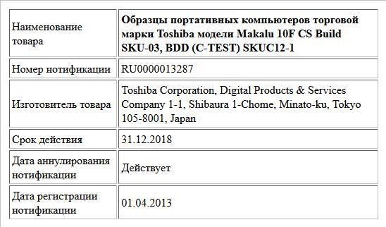 Образцы портативных компьютеров торговой марки Toshiba модели Makalu 10F CS Build SKU-03, BDD (C-TEST) SKUC12-1