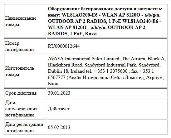Оборудование беспроводного доступа и запчасти   к нему:  WL81AO200-E6 - WLAN AP 8120O - a/b/g/n. OUTDOOR AP  2 RADIOS, 1 PoE  WL81AO240-E6 - WLAN AP 8120O - a/b/g/n. OUTDOOR AP  2 RADIOS, 1 PoE, Russi...