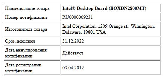 Intel® Desktop Board (BOXDN2800MT)