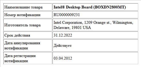 Intel® Desktop Board (BOXDN2800MT)