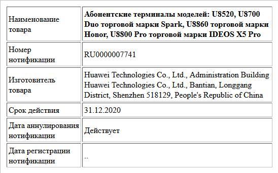Абонентские терминалы моделей: U8520, U8700 Duo торговой марки Spark, U8860 торговой марки Honor, U8800 Pro торговой марки IDEOS Х5 Pro