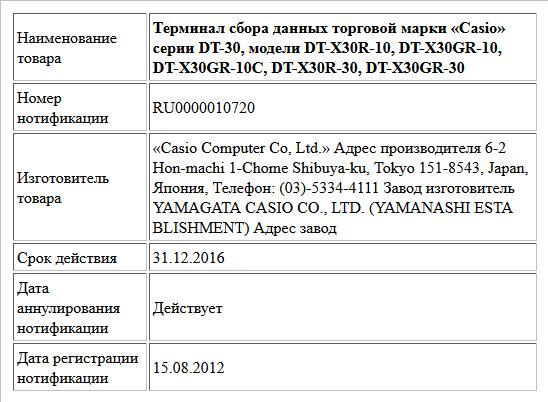 Терминал сбора данных торговой марки «Casio» серии DT-30, модели DT-X30R-10, DT-X30GR-10, DT-X30GR-10C, DT-X30R-30, DT-X30GR-30