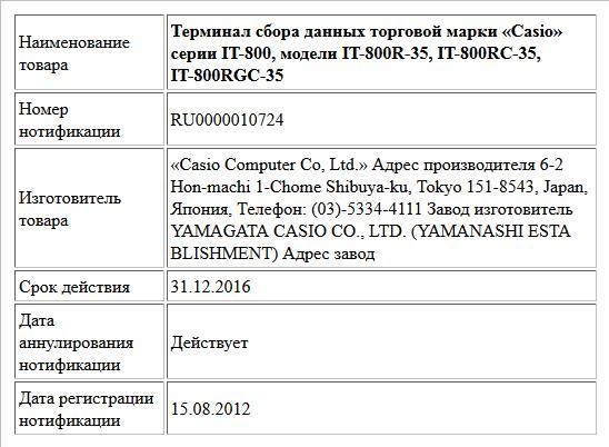Терминал сбора данных торговой марки «Casio» серии IT-800, модели IT-800R-35, IT-800RC-35, IT-800RGC-35