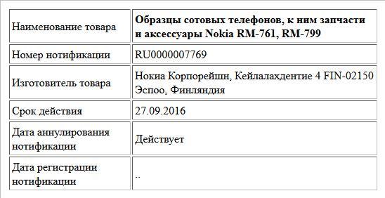 Образцы сотовых телефонов, к ним запчасти и аксессуары Nokia RM-761, RM-799