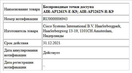 Беспроводные точки доступа AIR-AP1261N-E-K9; AIR-AP1262N-R-K9