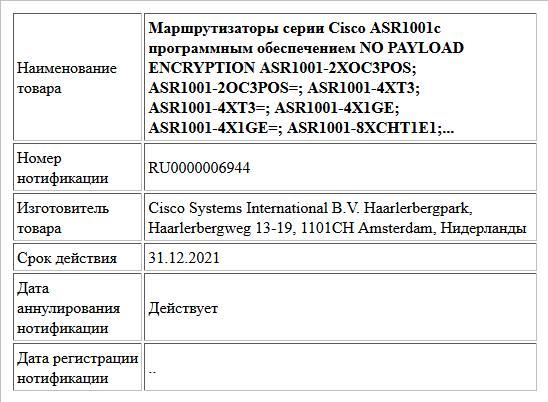 Маршрутизаторы серии Cisco ASR1001с программным обеспечением NO PAYLOAD ENCRYPTION  ASR1001-2XOC3POS; ASR1001-2OC3POS=;  ASR1001-4XT3; ASR1001-4XT3=;  ASR1001-4X1GE; ASR1001-4X1GE=;  ASR1001-8XCHT1E1;...