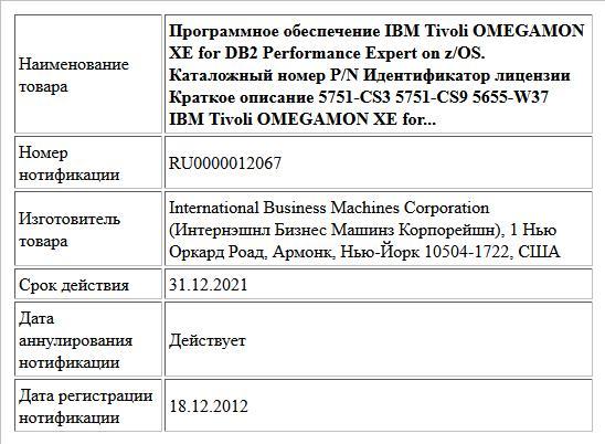 Программное обеспечение IBM Tivoli OMEGAMON XE for DB2 Performance Expert on z/OS. Каталожный номер P/N Идентификатор лицензии Краткое описание 5751-CS3 5751-CS9 5655-W37 IBM Tivoli OMEGAMON XE for...