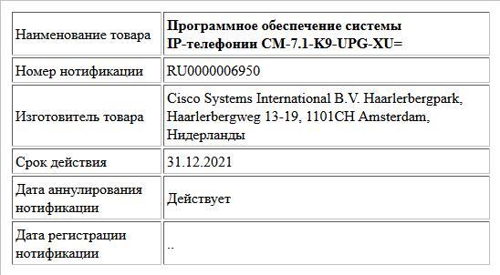 Программное обеспечение системы   IP-телефонии CM-7.1-K9-UPG-XU=