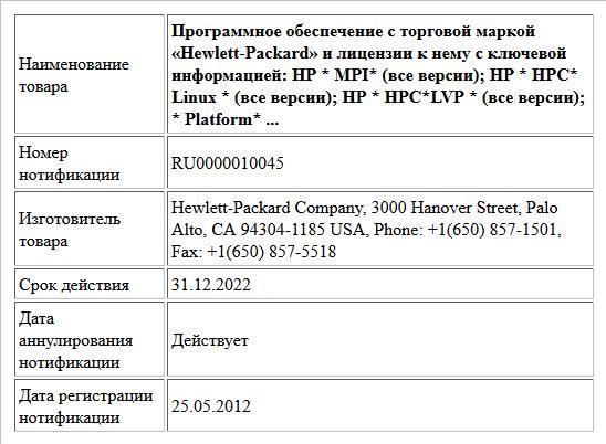 Программное обеспечение с торговой маркой «Hewlett-Packard» и лицензии к нему с ключевой информацией:  HP * MPI* (все версии); HP * НРС* Linux * (все версии); HP * HPC*LVP * (все версии); * Platform* ...