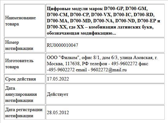 Цифровые модули марок D700-GP, D700-GM, D700-CM, D700-CP, D700-VX, D700-IC, D700-RD, D700-MA, D700-MD, D700-NA, D700-ND, D700-EP и D700-XX, где XX – комбинация латинских букв, обозначающая модификацию...