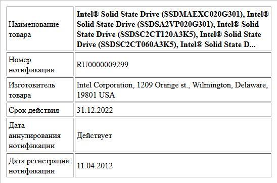 Intel® Solid State Drive (SSDMAEXC020G301),  Intel® Solid State Drive (SSDSA2VP020G301),  Intel® Solid State Drive (SSDSC2CT120A3K5),  Intel® Solid State Drive (SSDSC2CT060A3K5),  Intel® Solid State D...