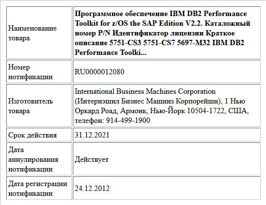 Программное обеспечение IBM DB2 Performance Toolkit for z/OS the SAP Edition V2.2. Каталожный номер P/N Идентификатор лицензии Краткое описание 5751-CS3 5751-CS7 5697-M32 IBM DB2 Performance Toolki...