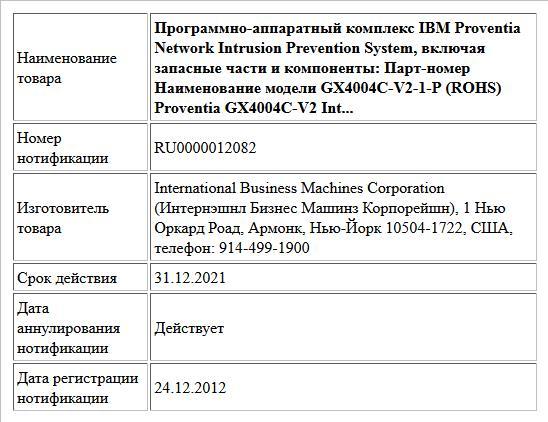 Программно-аппаратный комплекс IBM Proventia Network Intrusion Prevention System, включая запасные части и компоненты:  Парт-номер  Наименование модели   GX4004C-V2-1-P (ROHS) Proventia GX4004C-V2 Int...
