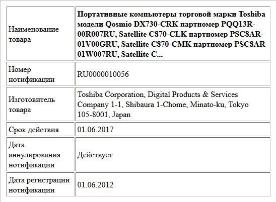 Портативные компьютеры торговой марки Toshiba модели Qosmio DX730-CRK партномер PQQ13R-00R007RU, Satellite C870-CLK партномер PSC8AR-01V00GRU, Satellite C870-CMK партномер PSC8AR-01W007RU, Satellite C...