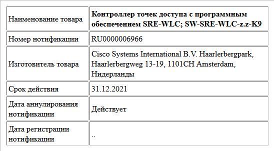 Контроллер точек доступа с программным обеспечением SRE-WLC; SW-SRE-WLC-z.z-K9