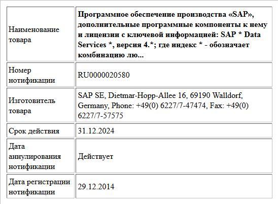 Программное обеспечение производства «SAP», дополнительные программные компоненты к нему и лицензии с ключевой информацией: SAP * Data Services *, версия 4.*; где индекс * - обозначает комбинацию лю...