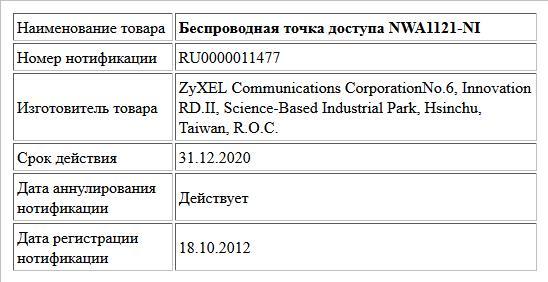 Беспроводная точка доступа NWA1121-NI