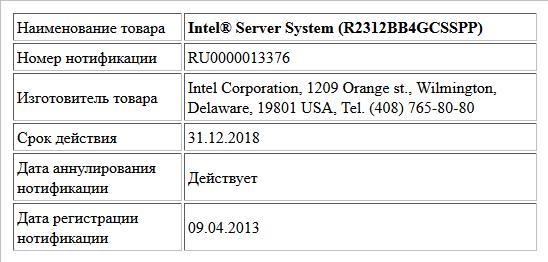 Intel® Server System (R2312BB4GCSSPP)
