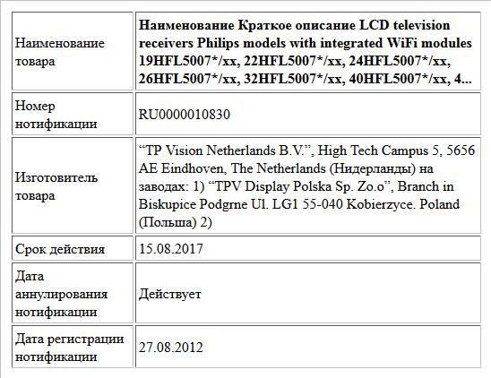 Наименование Краткое описание  LCD television receivers Philips models with integrated WiFi modules     19HFL5007*/xx, 22HFL5007*/xx,   24HFL5007*/xx, 26HFL5007*/xx,   32HFL5007*/xx, 40HFL5007*/xx,  4...