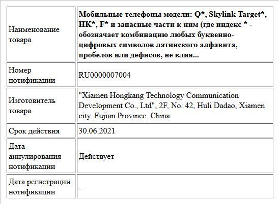 Мобильные телефоны модели: Q*, Skylink Target*, HK*, F* и запасные части к ним (где индекс * - обозначает комбинацию любых буквенно-цифровых символов латинского алфавита, пробелов или дефисов, не влия...