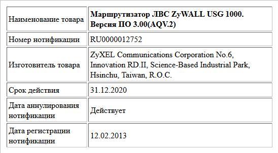 Маршрутизатор ЛВС ZyWALL USG 1000. Версия ПО 3.00(AQV.2)