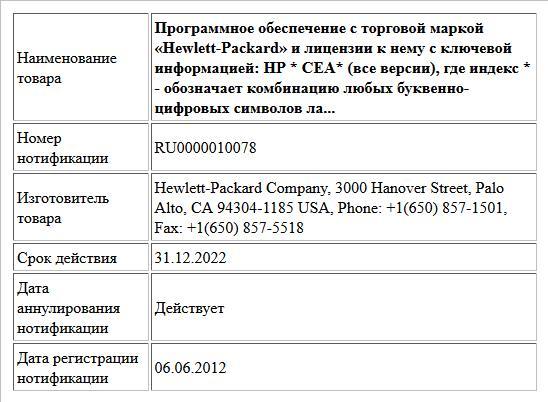 Программное обеспечение с торговой маркой «Hewlett-Packard» и лицензии к нему с ключевой информацией:  HP * СЕА* (все версии),  где индекс * - обозначает комбинацию любых буквенно-цифровых символов ла...