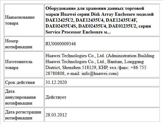 Оборудование для хранения данных торговой марки Huawei cерии Disk Array Enclosure моделей DAE12425U2, DAE12435U4, DAE12435U4F, DAE02435U4S, DAE02435U4, DAE01235U2, серии  Service Processor Enclosure м...