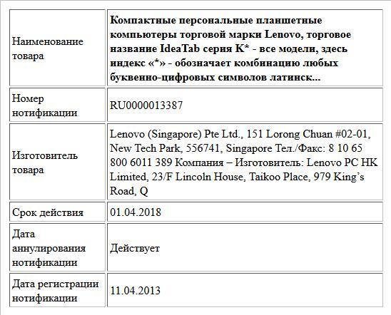 Компактные персональные планшетные компьютеры торговой марки Lenovo, торговое название IdeaTab серия K*  - все модели, здесь индекс «*» - обозначает комбинацию любых буквенно-цифровых символов латинск...