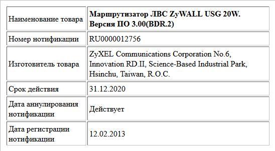 Маршрутизатор ЛВС ZyWALL USG 20W. Версия ПО 3.00(BDR.2)