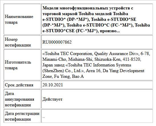 Модели многофункциональных устройств с торговой маркой Toshiba моделей Toshiba e-STUDIO* (DP-*MJ*), Toshiba e-STUDIO*SE (DP-*MJ*), Toshiba e-STUDIO*C (FC-*MJ*), Toshiba e-STUDIO*CSE (FC-*MJ*), произво...