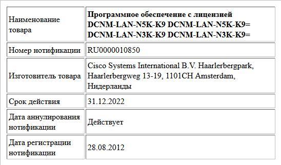 Программное обеспечение с лицензией  DCNM-LAN-N5K-K9  DCNM-LAN-N5K-K9=  DCNM-LAN-N3K-K9  DCNM-LAN-N3K-K9=
