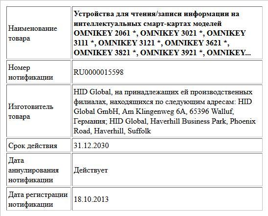 Устройства для чтения/записи информации на интеллектуальных смарт-картах моделей OMNIKEY 2061 *, OMNIKEY 3021 *, OMNIKEY 3111 *, OMNIKEY 3121 *, OMNIKEY 3621 *, OMNIKEY 3821 *, OMNIKEY 3921 *, OMNIKEY...