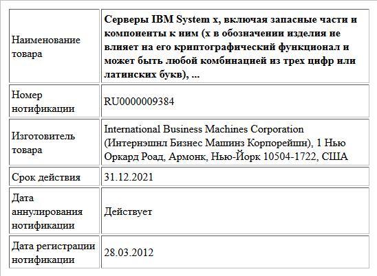 Серверы IBM System x, включая запасные части и компоненты к ним (x в обозначении изделия не влияет на его криптографический функционал и может быть любой комбинацией из трех цифр или латинских букв), ...