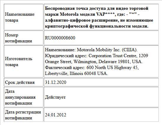 Беспроводная точка доступа для видео торговой марки Motorola модели VAP****, где:  -