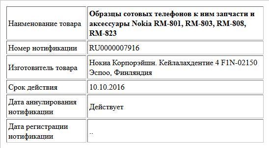 Образцы сотовых телефонов к ним запчасти и аксессуары Nokia RM-801, RM-803, RM-808, RM-823