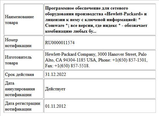 Программное обеспечение для сетевого оборудования производства «Hewlett-Packard» и лицензии к нему с ключевой информацией:     * Comware *; все версии,    где индекс * - обозначает комбинацию любых бу...