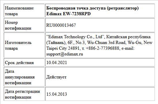 Беспроводная точка доступа (ретранслятор) Edimax EW-7238RPD