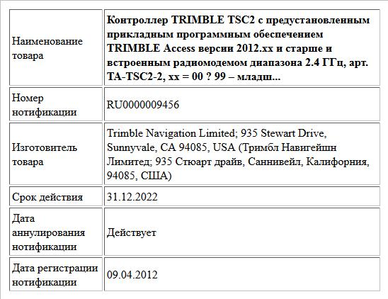 Контроллер TRIMBLE TSC2 с предустановленным прикладным программным обеспечением TRIMBLE Access версии 2012.xx и старше и встроенным радиомодемом диапазона 2.4 ГГц, арт. TA-TSC2-2, xx = 00 ? 99 – младш...