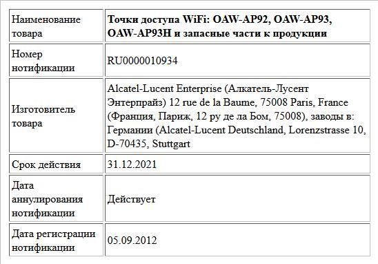 Точки доступа WiFi: OAW-AP92, OAW-AP93, OAW-AP93H и запасные части к продукции