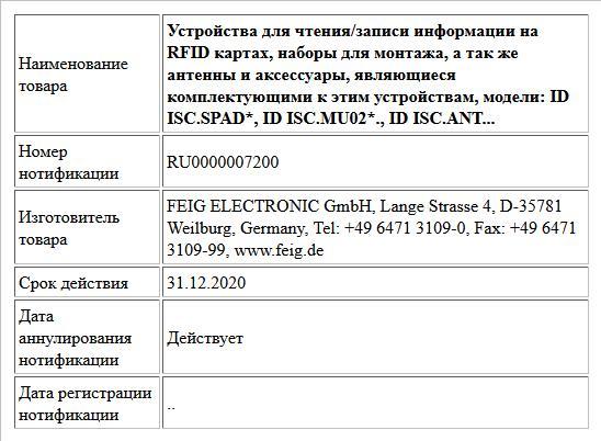 Устройства для чтения/записи информации на RFID картах, наборы для монтажа, а так же антенны и аксессуары, являющиеся комплектующими к этим устройствам, модели: ID ISC.SPAD*, ID ISC.MU02*., ID ISC.ANT...