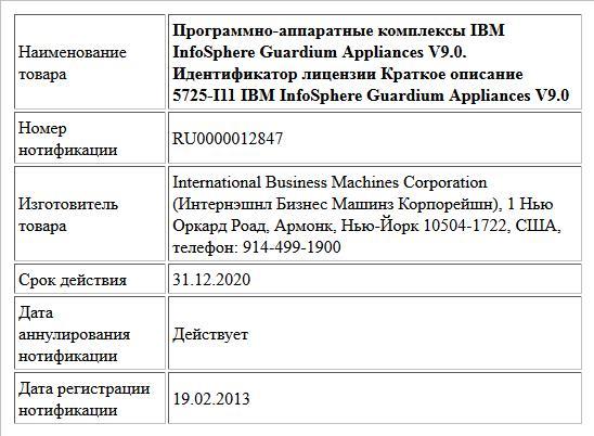 Программно-аппаратные комплексы IBM InfoSphere Guardium Appliances V9.0.  Идентификатор лицензии Краткое описание  5725-I11 IBM InfoSphere Guardium Appliances V9.0