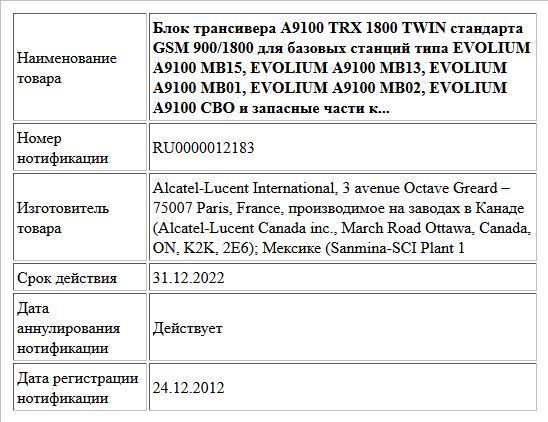 Блок трансивера A9100 TRX 1800 TWIN стандарта GSM 900/1800 для базовых станций типа EVOLIUM A9100 MB15, EVOLIUM A9100 MB13, EVOLIUM A9100 MB01, EVOLIUM A9100 MB02, EVOLIUM A9100 CBO и запасные части к...