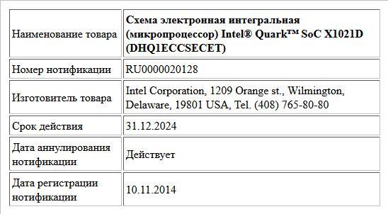 Схема электронная интегральная (микропроцессор) Intel® Quark™ SoC X1021D (DHQ1ECCSECET)