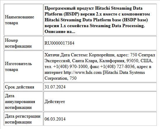 Программный продукт Hitachi Streaming Data Platform (HSDP) версия 2.x вместе с компонентом Hitachi Streaming Data Platform base (HSDP base) версия 1.x семейства Streaming Data Processing. Описание на...